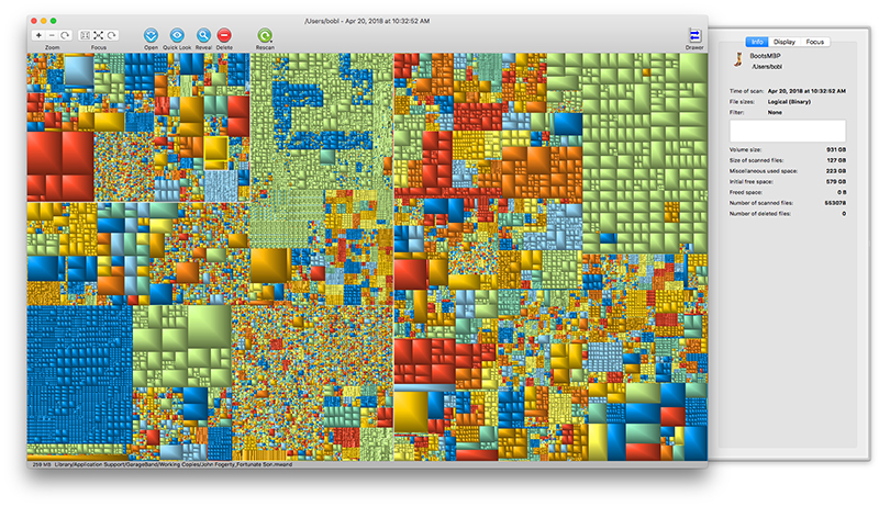 GrandPerspective is like a Mondrian painting, with bigger blocks representing bigger files and related content displayed in related colors.