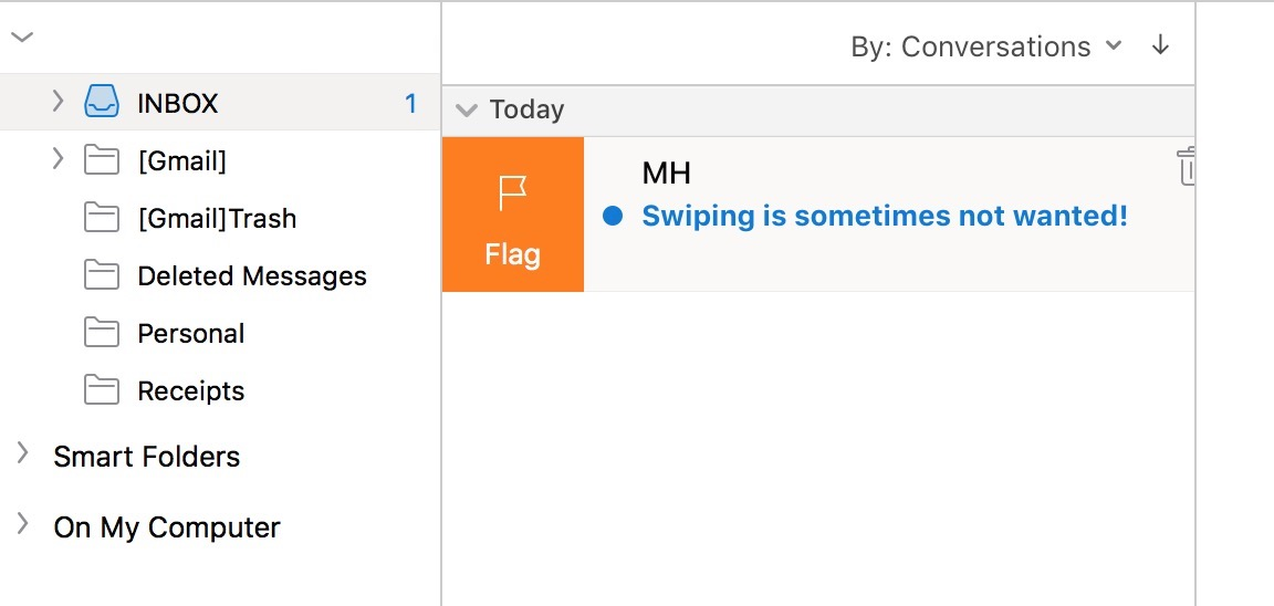 Swipe to Flag in Outlook on the Mac