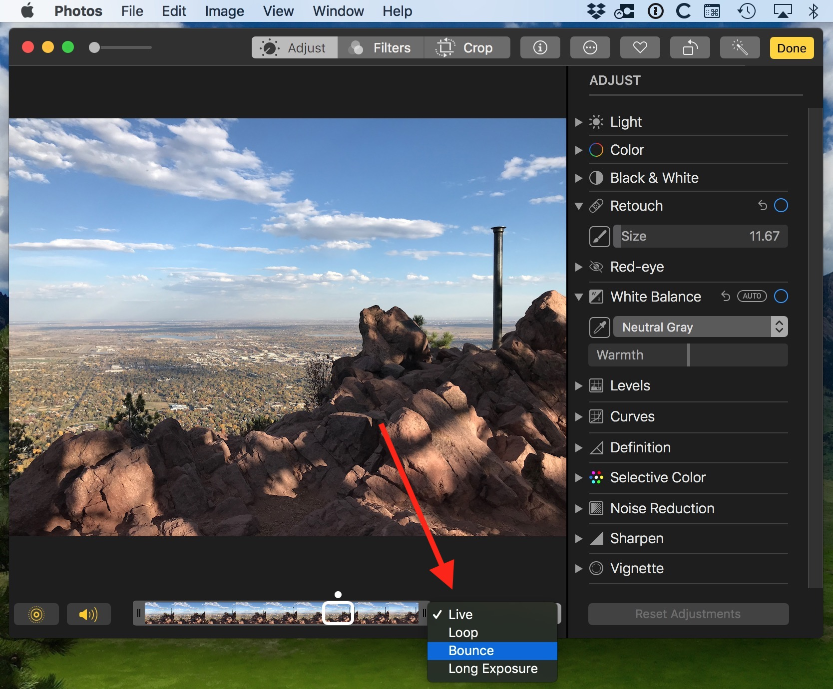 Change Live Photo Effect and use Loop or Bounce for animated GIF in Mac Photos app