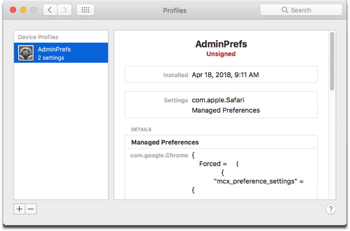 Screenshot of System Preferences. This Mac flash malware installs a configuration profile.
