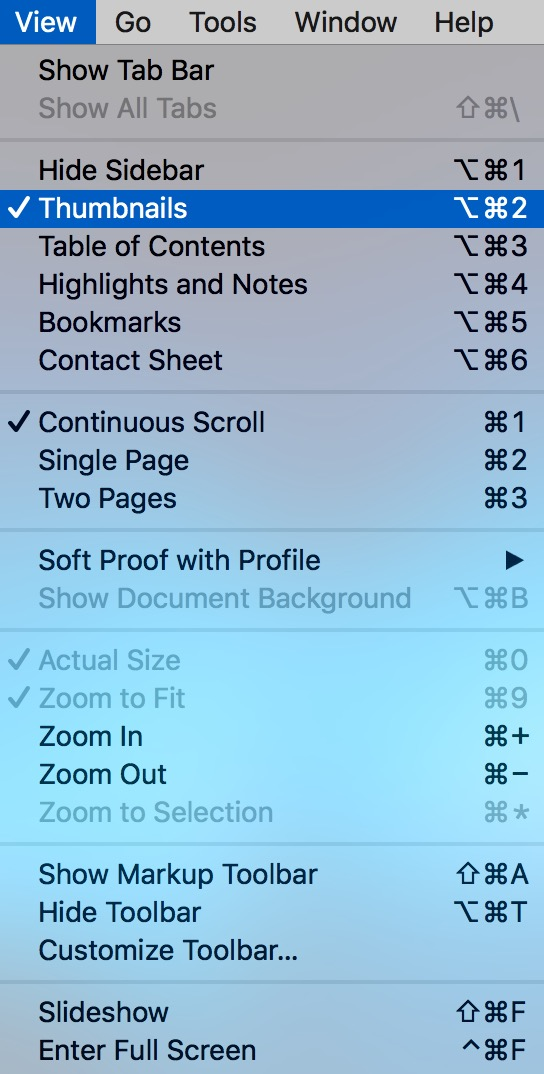 View Menu in Preview on Mac showing Thumbnails option