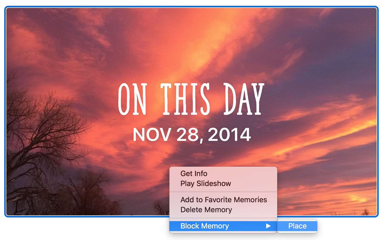 """Block Memory of Place option in """"On This Day"""" Memory collection in Photos on Mac"""