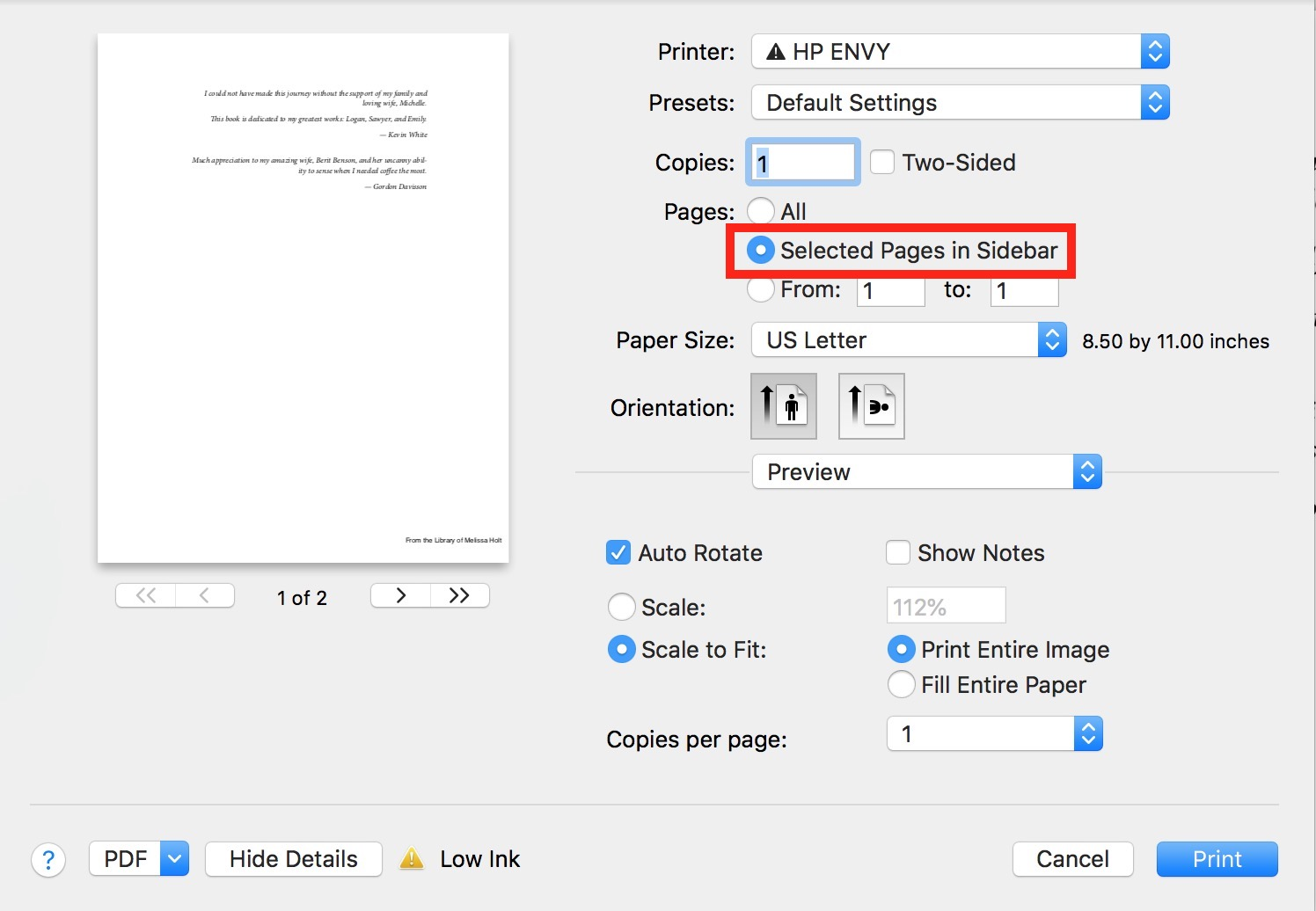 """""""Selected Pages in Sidebar"""" Option in Preview Print dialog on Mac"""