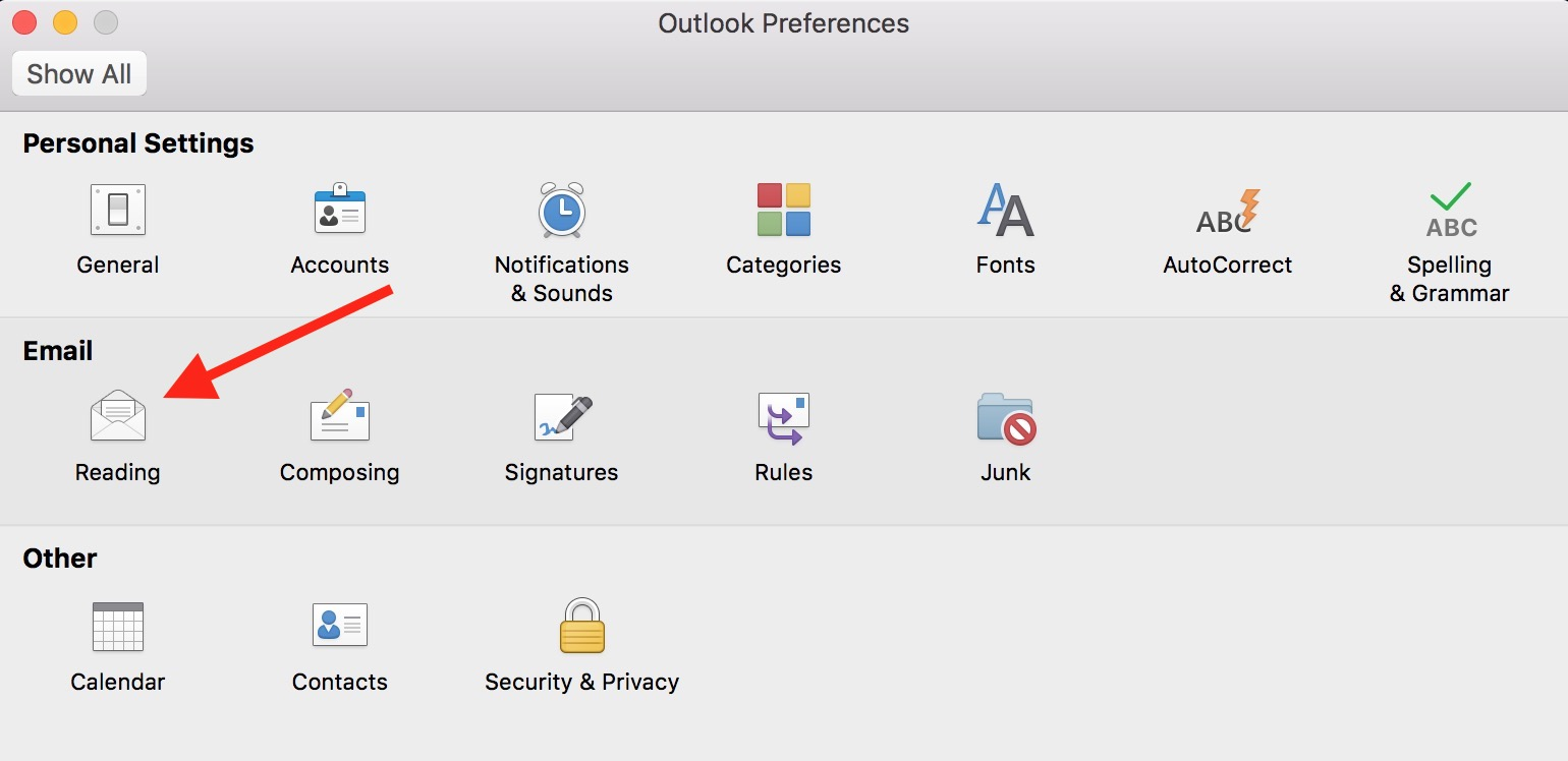 Reading Preferences in Outlook on the Mac have gesture settings controls