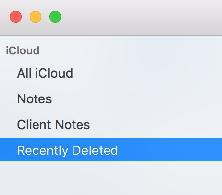 Sidebar within Notes showing Recently Deleted option