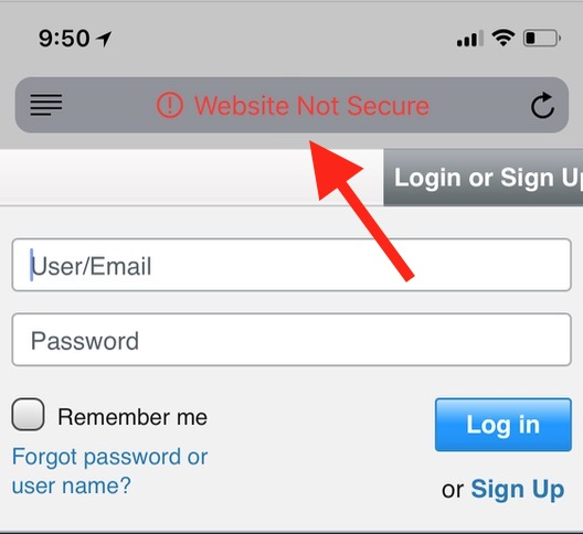 New Red Text in Safari on iOS indicating a website isn't secure