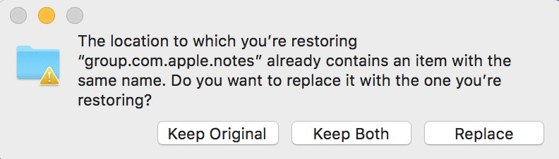 Choose Replace in the Confirmation Dialog to restore your Notes backup