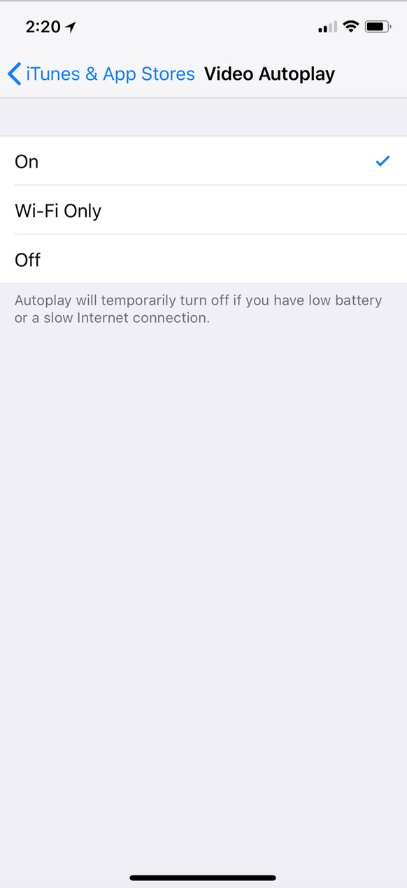 """""""Video Autoplay"""" Settings for iTunes & App Stores on iPhone showing On, Wi-Fi Only, and Off"""