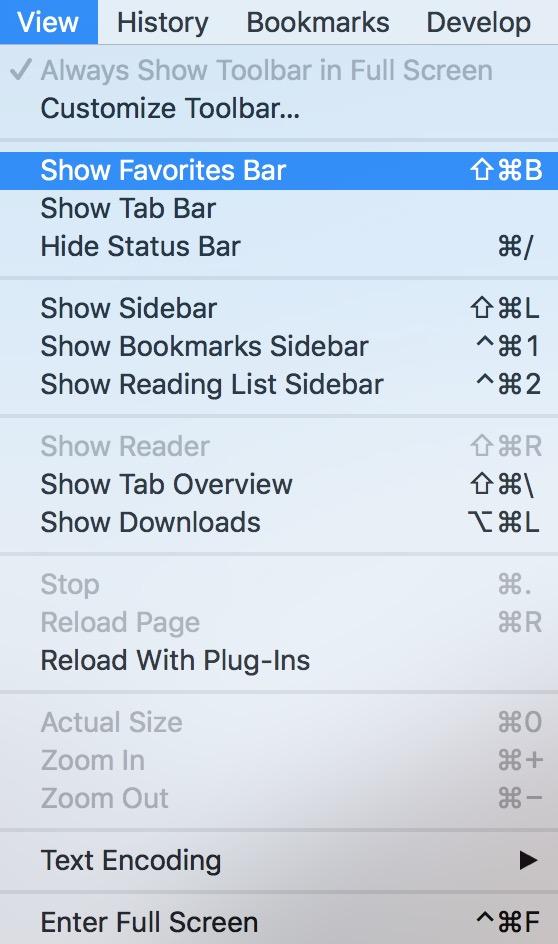 macOS Safari View Menu with Show Favorites Bar highlighted