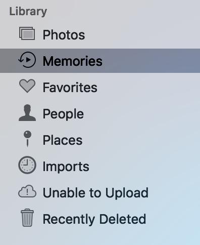 """""""Memories"""" in Photos Sidebar on Mac"""