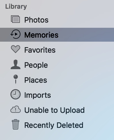 """Memories"" in Photos Sidebar on Mac"