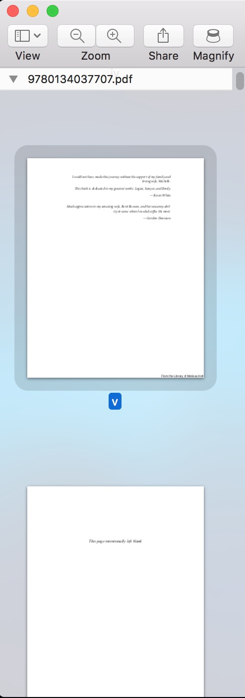 Selecting page thumbnails in Sidebar in Preview on Mac