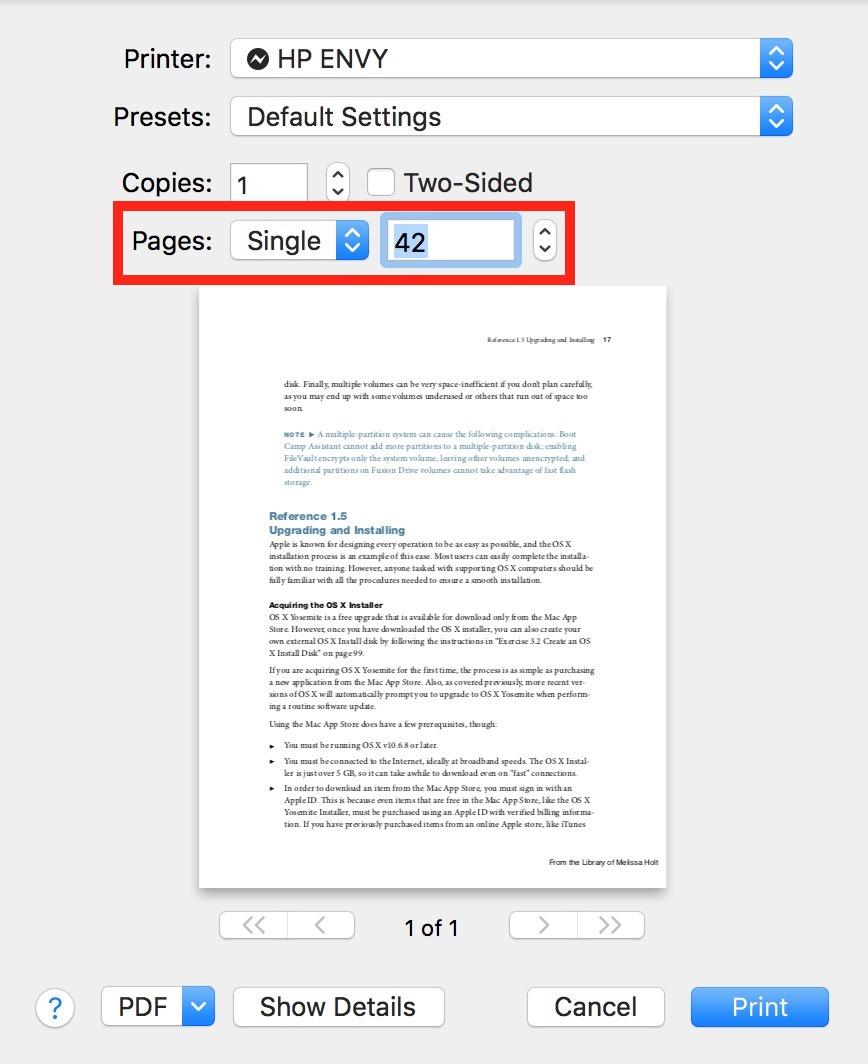 Print Single Page in Mac print dialog
