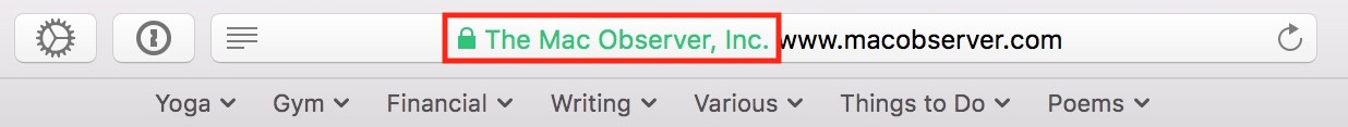 Green Text in Safari URL Bar showing secure site