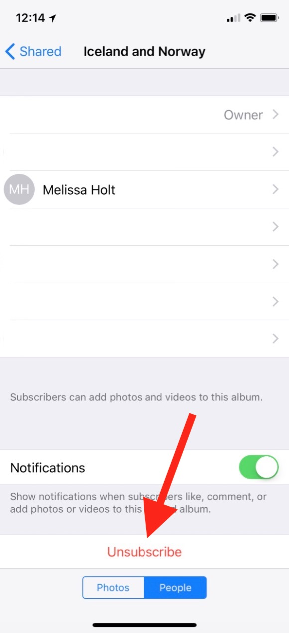 """Unsubscribe"" Button for Shared Albums in Photos on the iPhone"