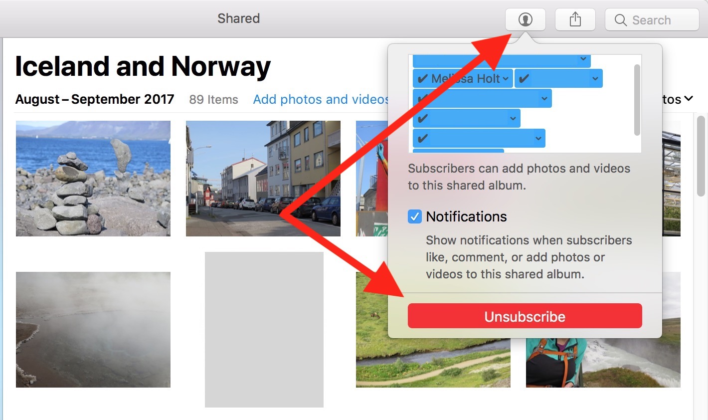 """Unsubscribe"" Button in Photos on the Mac for Shared Albums"