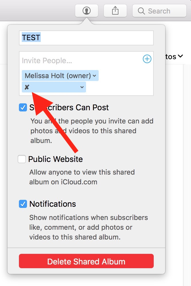 """Unsubscribed """"x"""" in Shared Album in Photos on the Mac"""