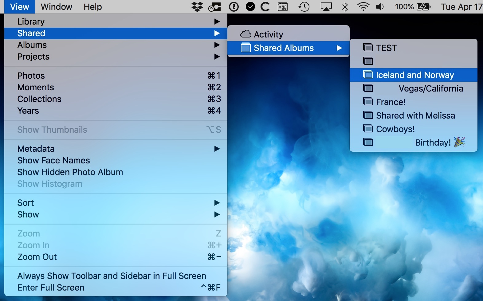 View Menu in Photos on macOS showing Shared Albums options