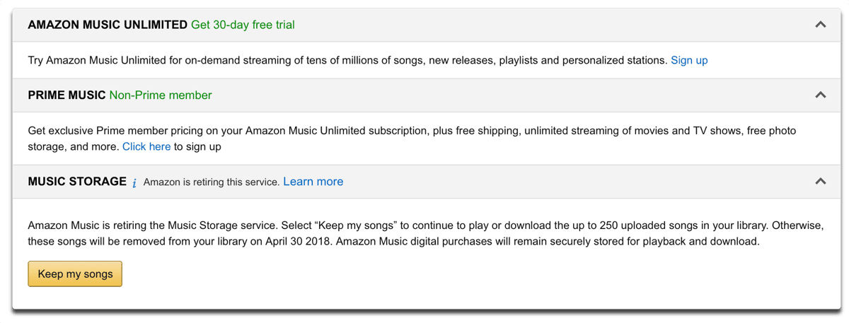 Amazon Music Storage is ending, but you can keep your songs for now.