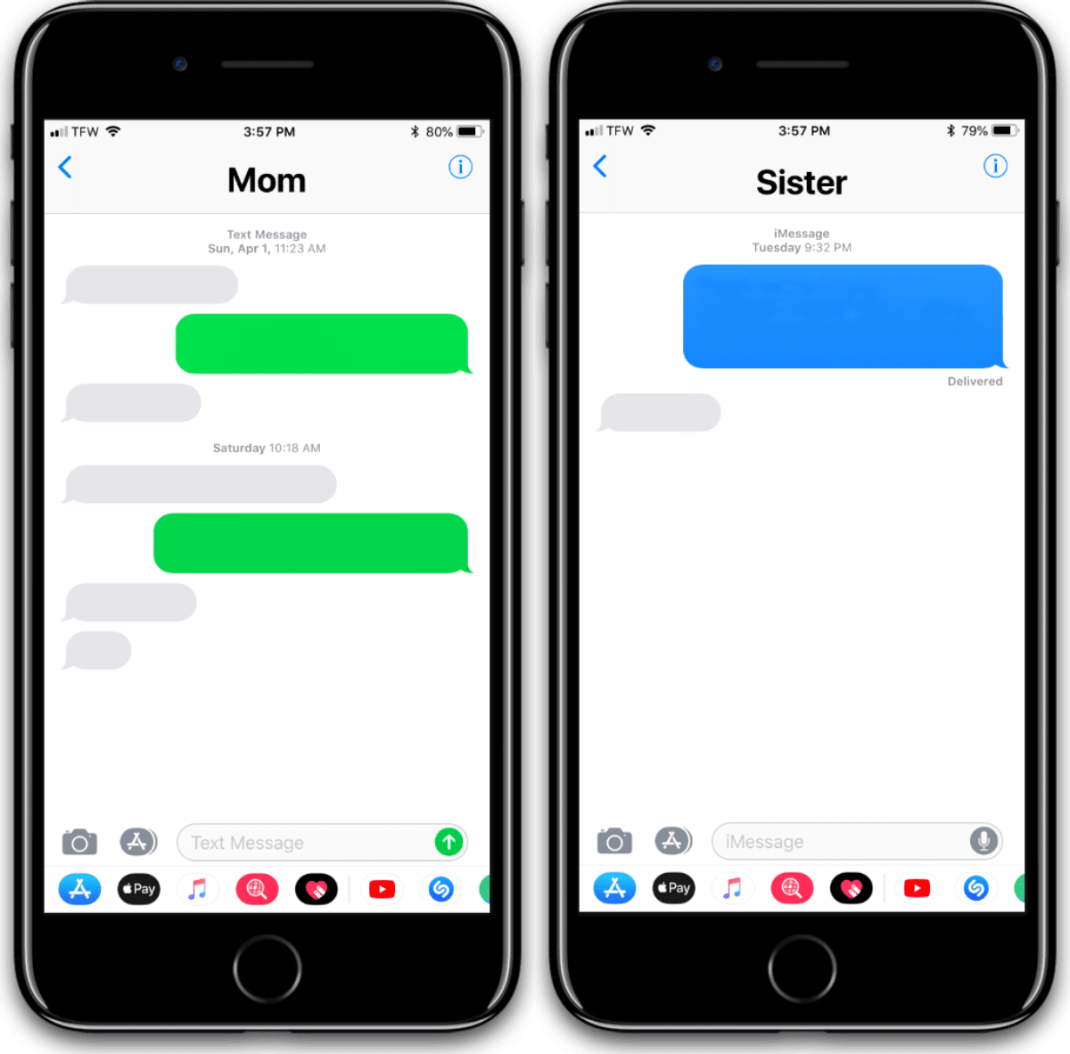 Green bubbles versus blue bubbles in iMessage. Should Apple make an Android iMessage app.