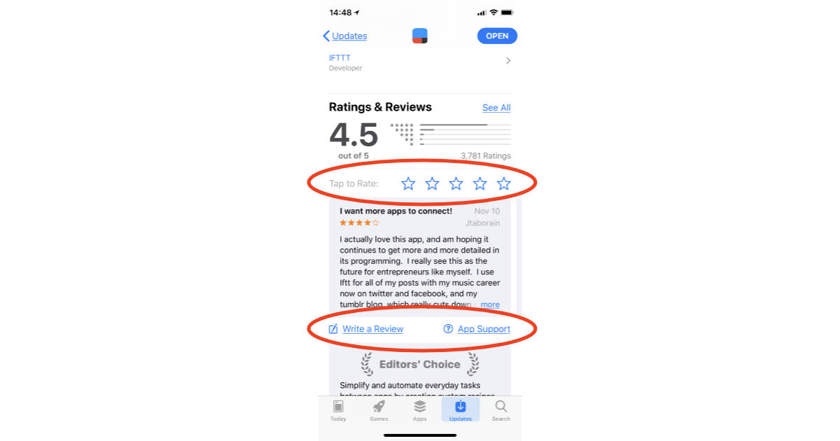 iPhone and iPad App Store showing app review options