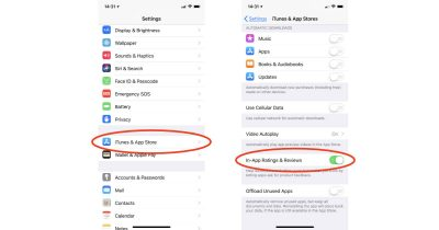 App Store review settings on iPhone