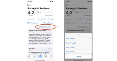 Sorting app reviews in the App Store app in iOS 11.3