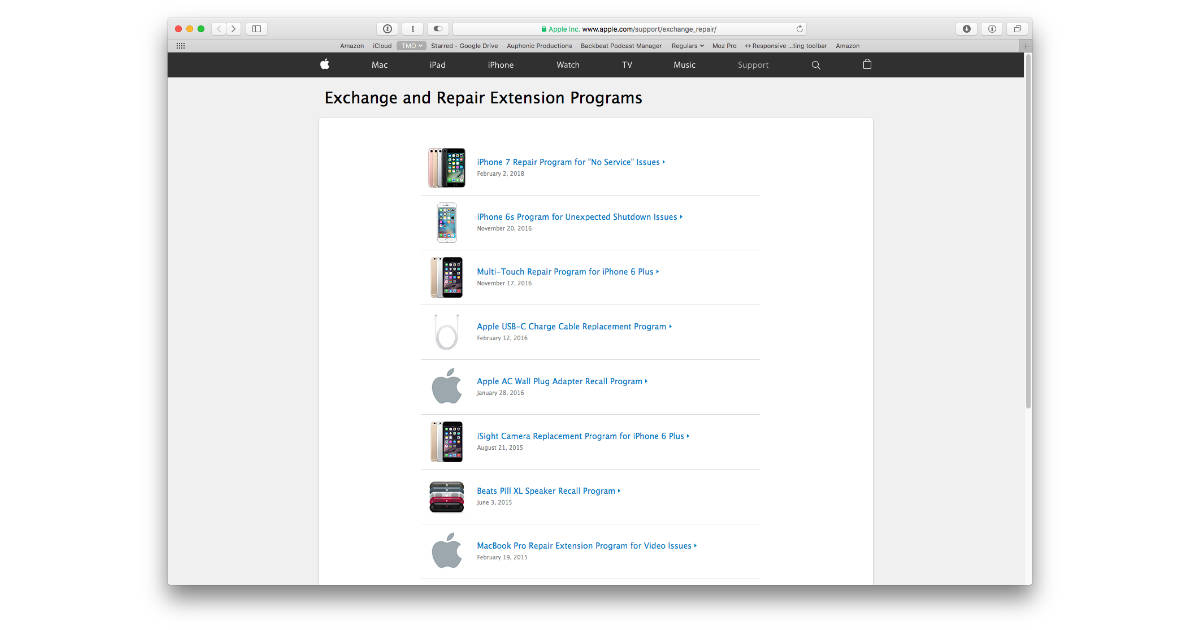 Apple Exchange and Repair Extension Programs webpage