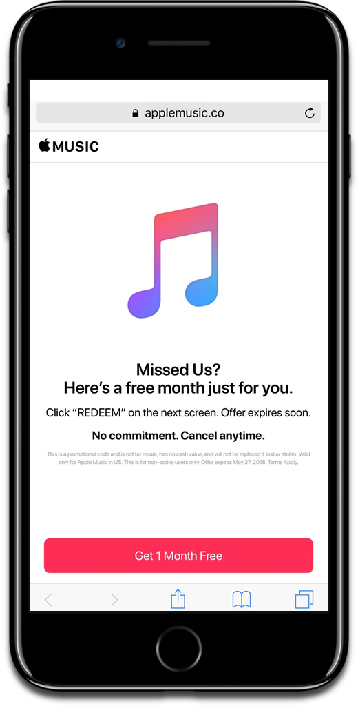 Image of the Apple Music trial page in Safari.