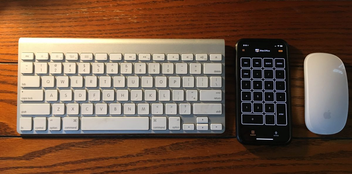 Evgency's Cherpak's Remote Pad for Mac in between Mac keyboard and Magic mouse