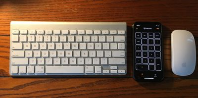 Cherpak's Remote Pad for Mac being used with small keyboard