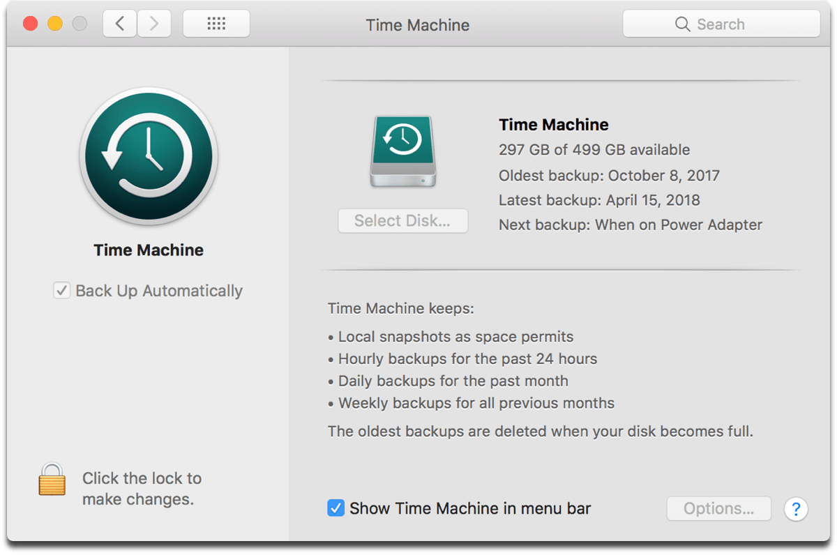Screenshot of Time Machine, an example of data backup.