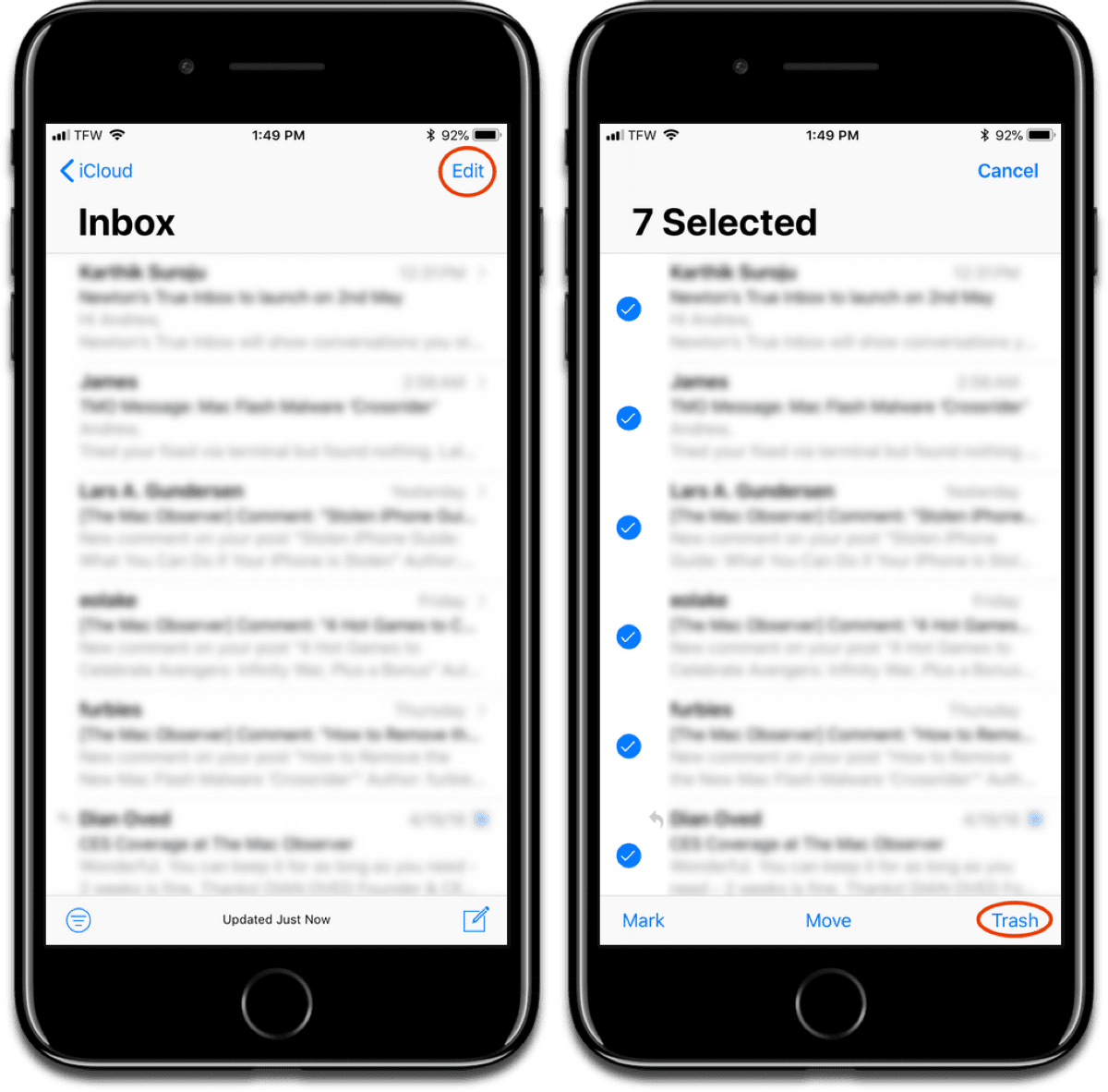Delete iOS mail from your inbox.