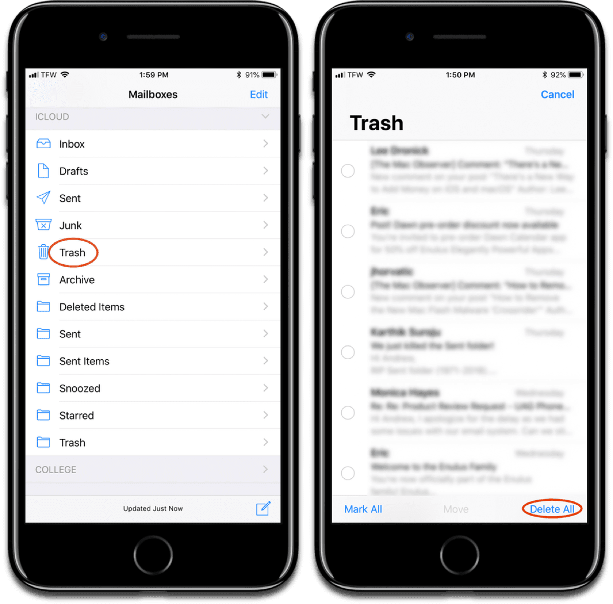 Delete iOS mail from trash.