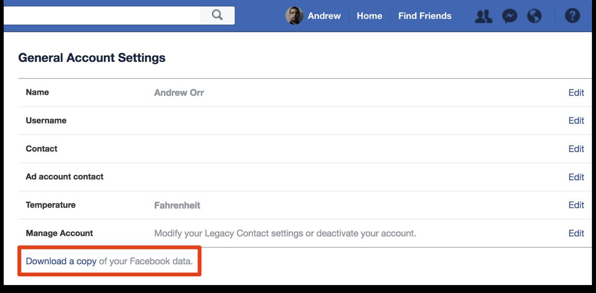 Download Facebook data in General Account Settings.