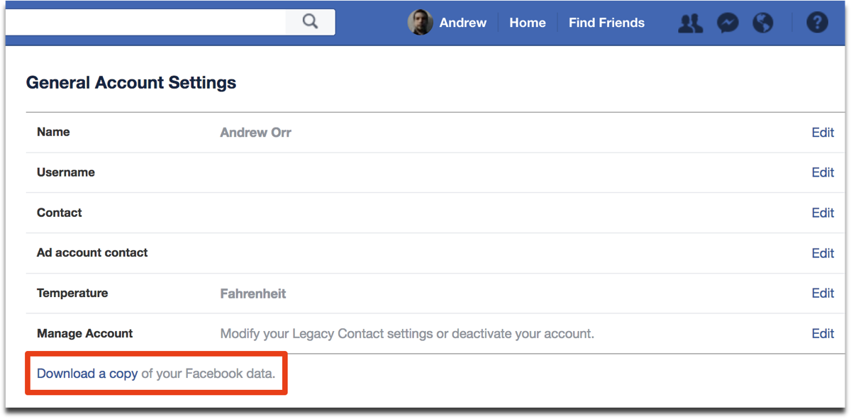 Download Facebook data in General Account Settings.
