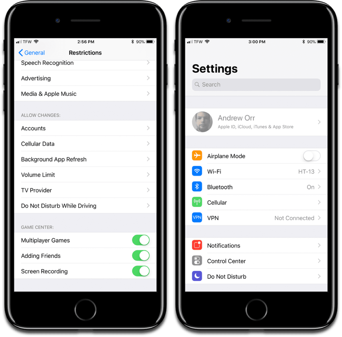 Screenshots of iOS Restrictions on the iPhone.