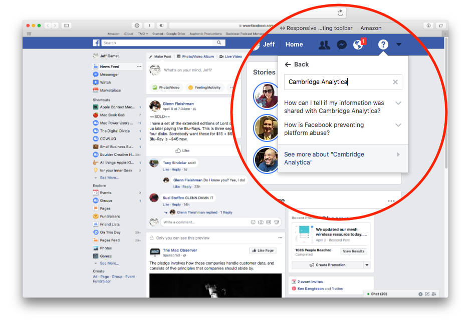 Facebook search to see if Cambridge Analytica has your user profiile