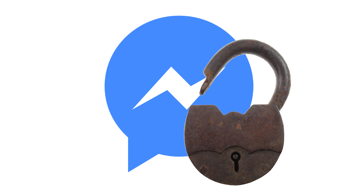 Facebook Messenger with open padlock