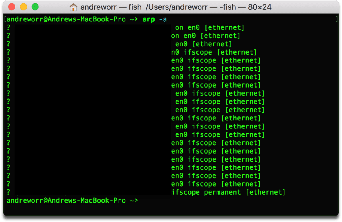 Find network devices by using the ARP command in Terminal.