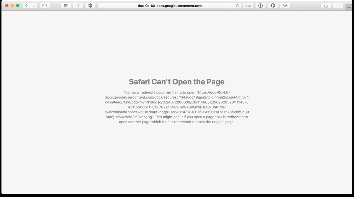 Screenshot of the Google Drive redirects error in Safari.