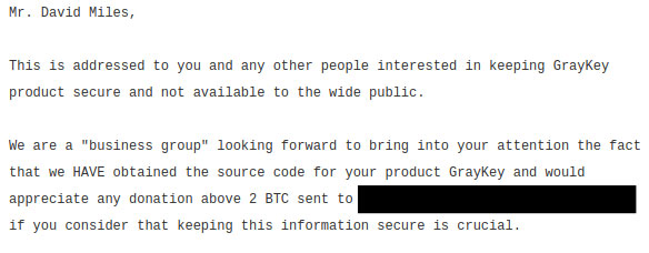 GrayShift Extortion Letter