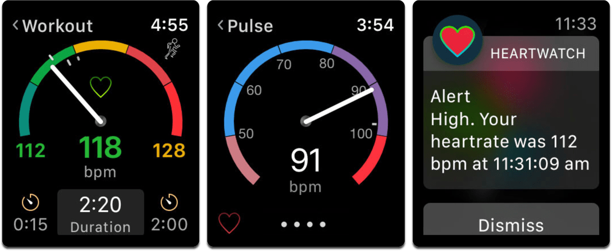 Screenshots of HeartWatch in our list of heart rate monitor apps.