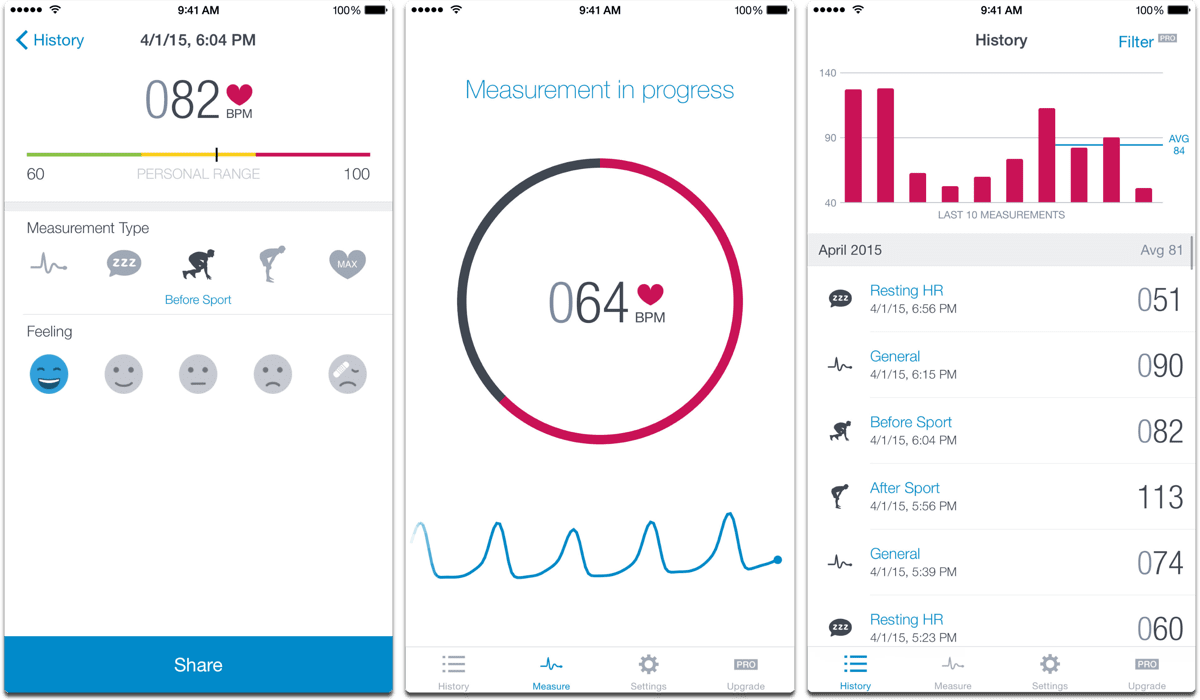Screenshots of Runtastic in our list of heart rate monitor apps.