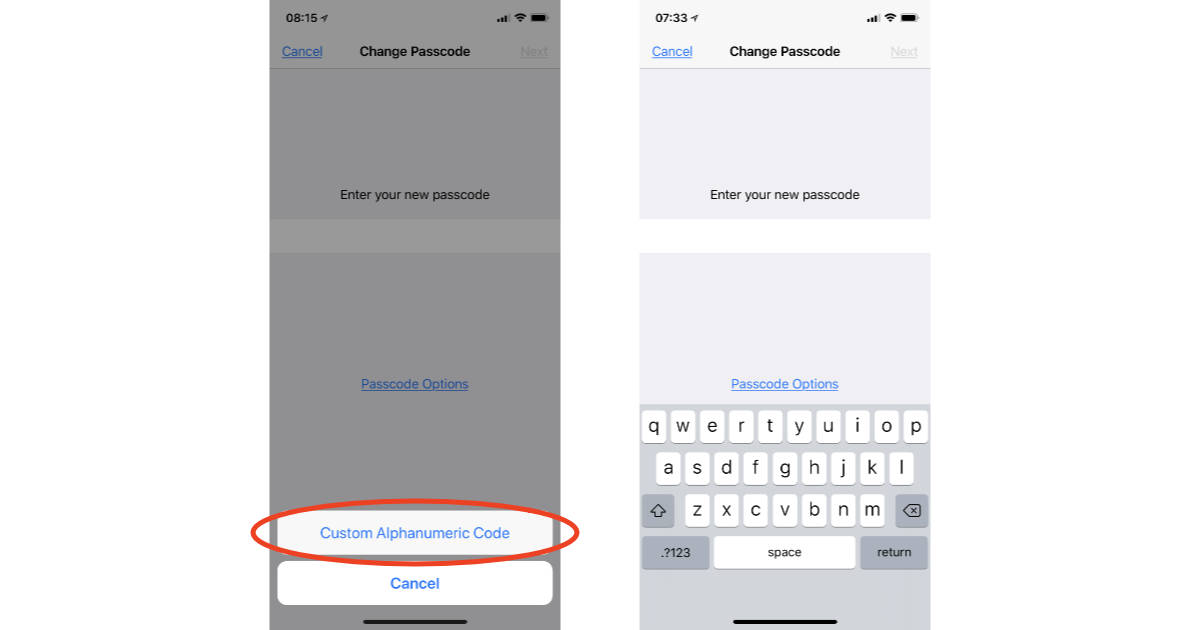 Alphanumeric passcode option on iPhone X
