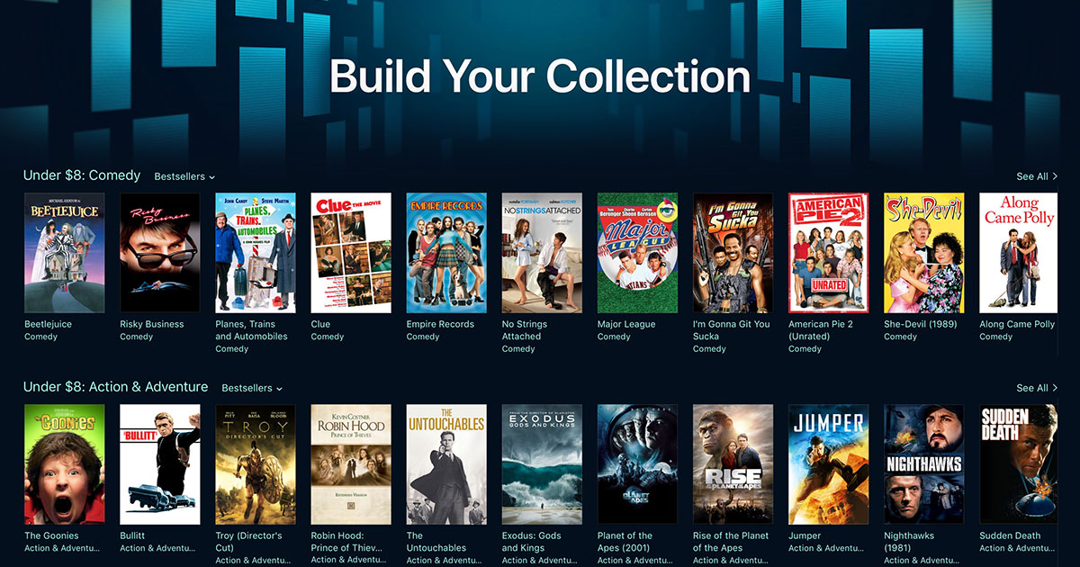 iTunes Launches 'Build Your Collection' Movie Promo Under $8