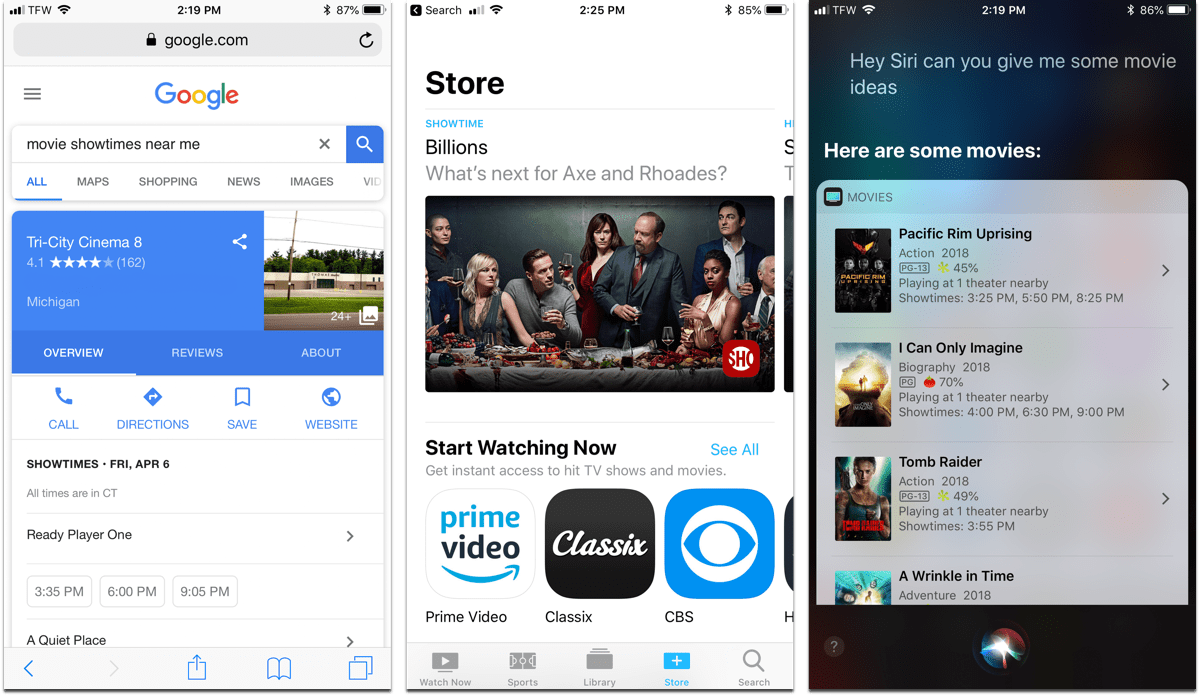 Screenshots of ways to plan your movie night with Google, Siri, and the TV app.