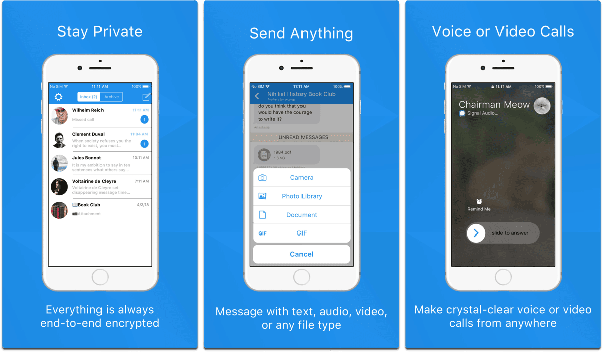 Screenshots of Signal in our list of private chat apps.
