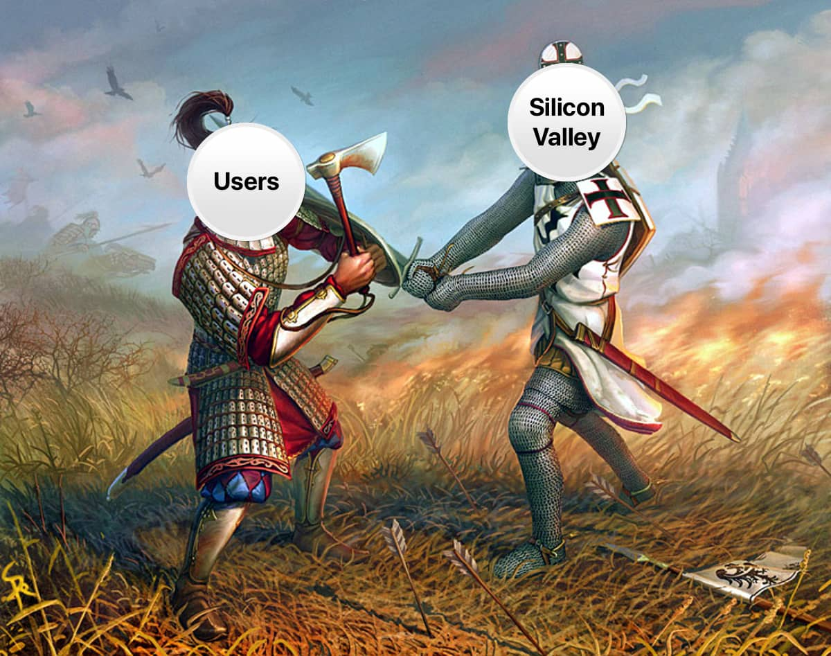 Should tech companies sign a security pledge? Image of two knights dueling. One knight represents Silicon Valley, one knight represents users.