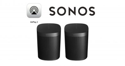 Airplay 2 and Sonos logos with two Sonos One Speakers